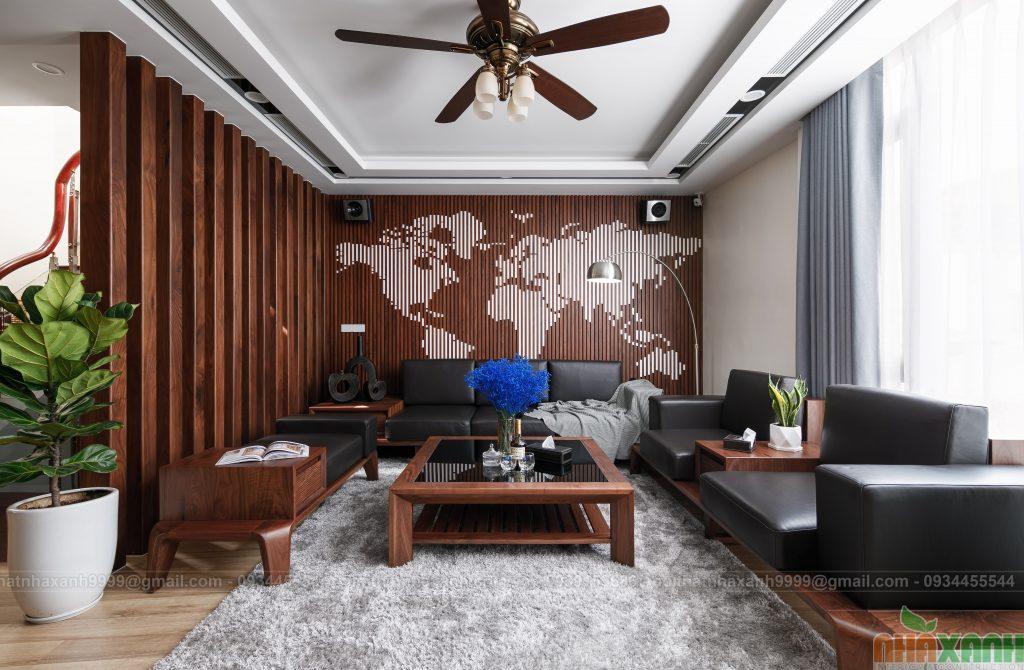 Thi công nội thất gỗ óc chó hiện đại