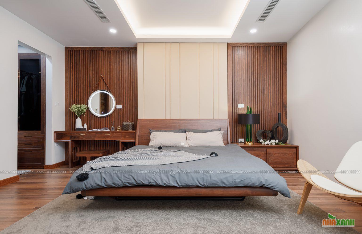 thiết kế thi công nội thất gỗ óc chó hiện đại cao cấp